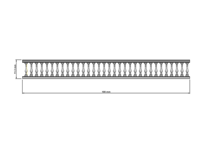 Baluster 01. HO Scale (1:87)  x10 units  3d printed Dimensions at 1:87 scale