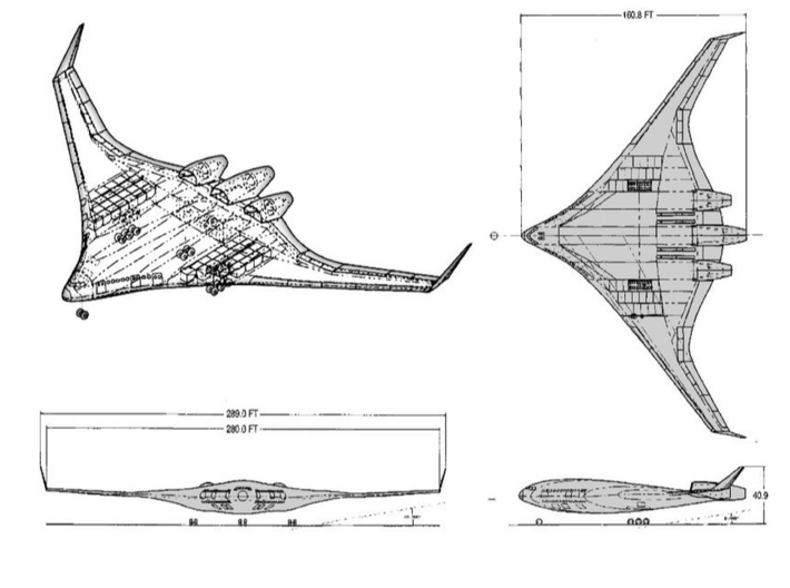 Boeing Blended Wing Body (BWB) Airliner Concept 3d printed
