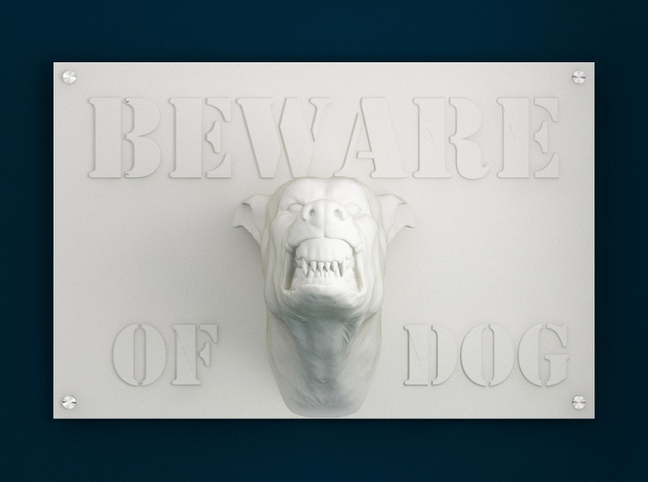 Beware of Dog Sign - 6inches 3d printed