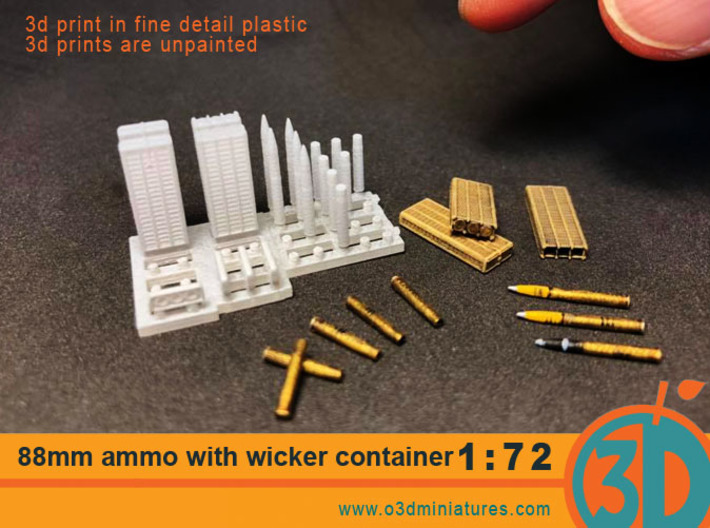 88mm Ammo with Wicker Container 1/72 scale SWFUD-7 3d printed
