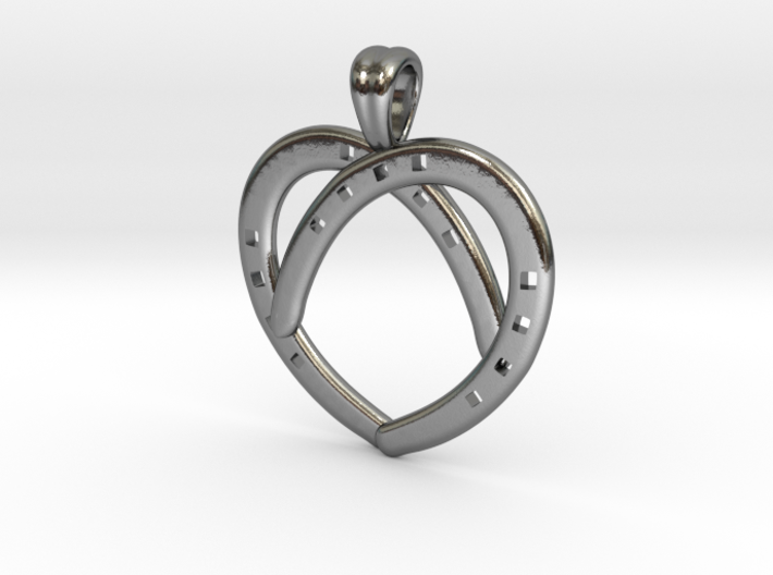 Heart by horseshoes [pendant] 3d printed