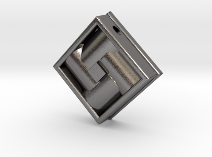 Square Weave Pendant with 3mm Silde Necklace Hole 3d printed