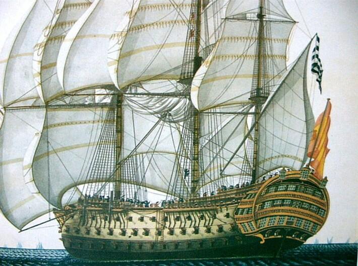 Nameplate Santísima Trinidad 3d printed First-rate ship-of-the-line Santisima Trinidad.
