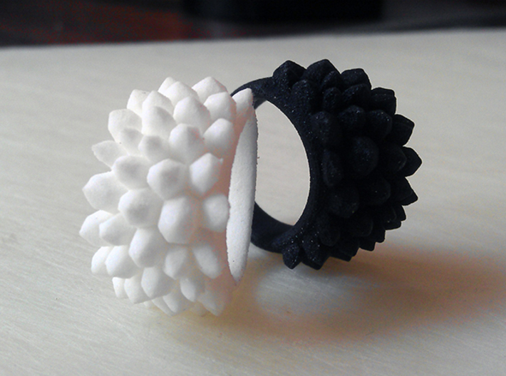 Urban Crystal Ring - Various Sizes 3d printed Black and White Urban Crystal Rings