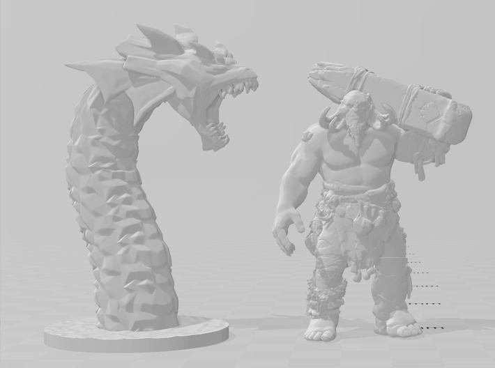 Hydra King miniature model fantasy games rpg dnd 3d printed