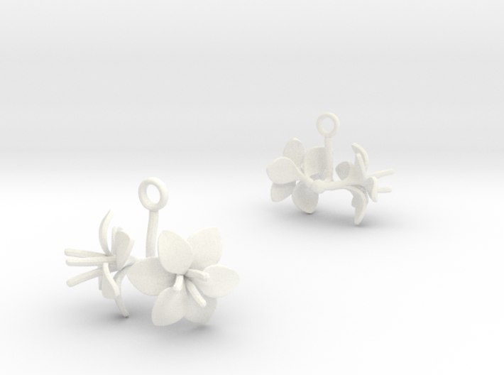 Amaryllis earring with two large flowers 3d printed
