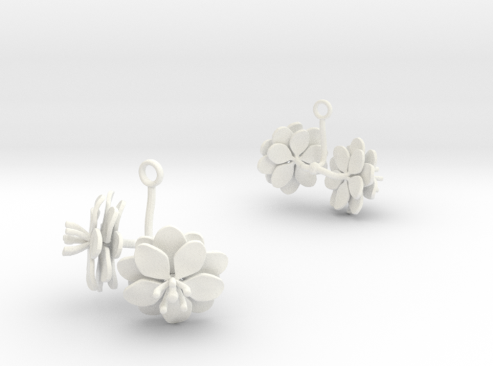 Anemone earring with two large flowers 3d printed