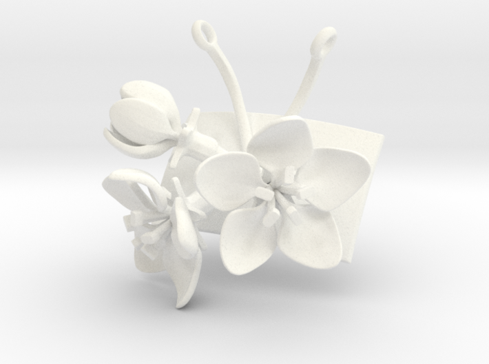 Apple pendant with three large flowers 3d printed