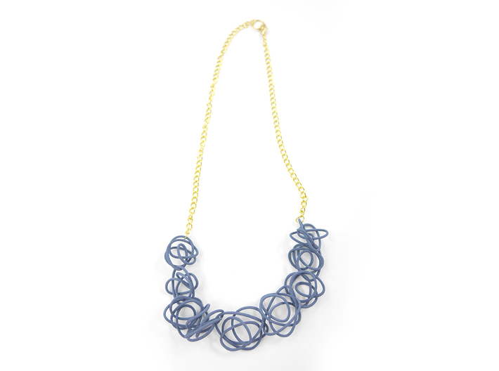 Sprouted Spirals Necklace (Chain) 3d printed Custom Dyed Color (Azurite)
