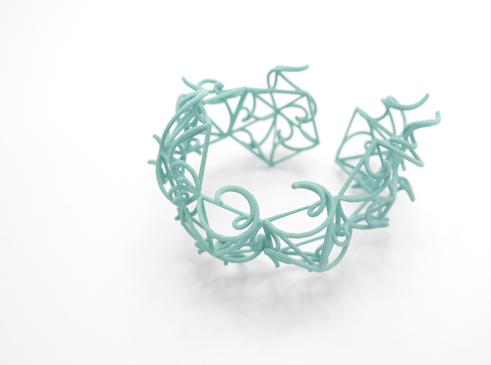 Aster Cuff 3d printed Custom Dyed Colors (Teal)