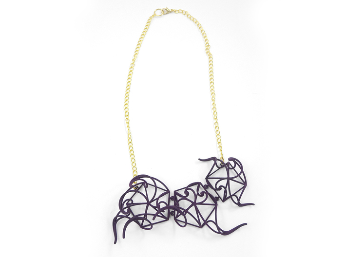 Aster Necklace 3d printed Custom Dyed Colors (Midnight)