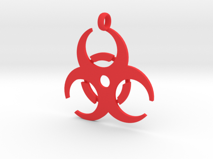 Biohazard necklace charm (simple) 3d printed