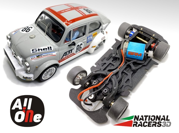 Chassis BRM FIAT ABARTH 1000 TC (AiO-Aw) 3d printed Chassis compatible with BRM model (slot car and other parts not included)