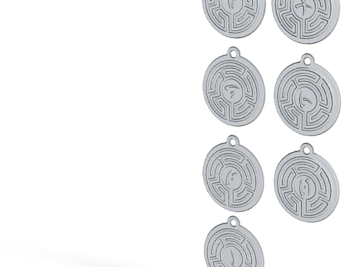 Virtue Labyrinth Amulet Set 3d printed