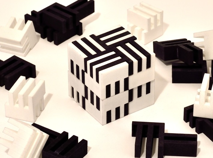 Puzzle Cube, Positive, (white) pieces 3d printed Eight white pieces of puzzle shown