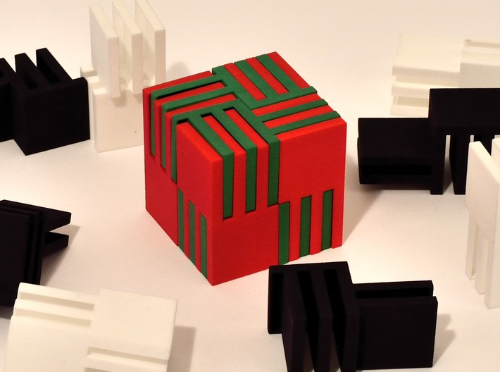 Cube Puzzle, 4 black pieces only 3d printed Green pieces of puzzle shown