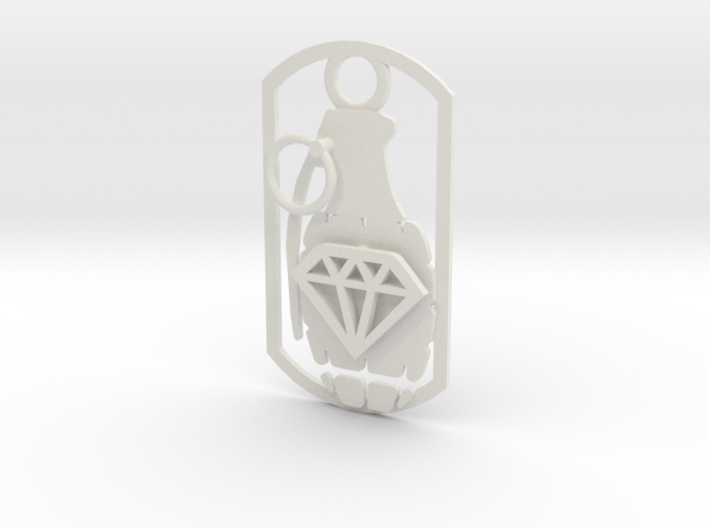 Diamond grenade dog tag 3d printed