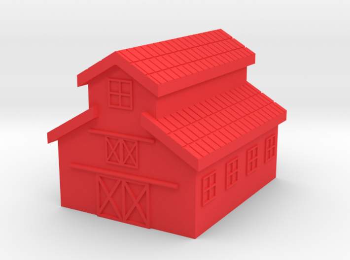 Barn, One Side Open 3d printed Photo Polished Red Plastic