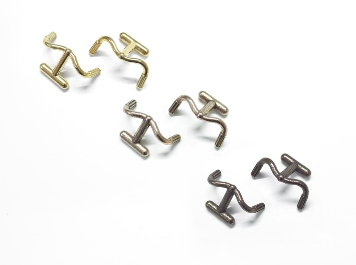 Detour Handlebar Cufflinks 3d printed Left to right: Polished Brass, Steel, Bronze steel