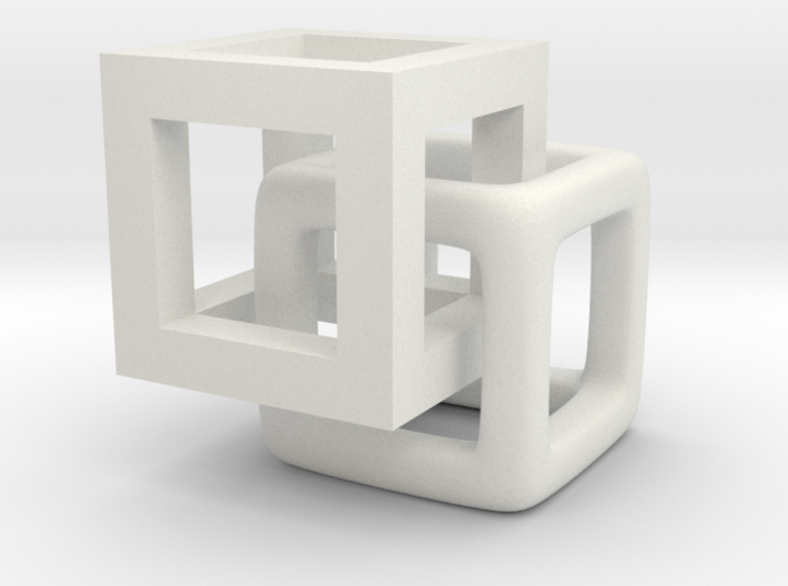 1cm cubes interlaced 3d printed
