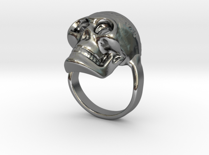 Skull ring size 50 / 5 3/8 (ask for other size) 3d printed