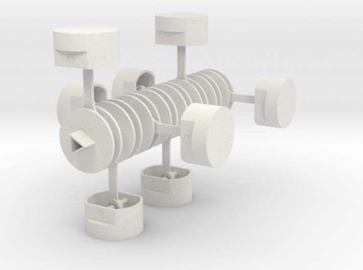 Crankshaft with Pistons 3d printed