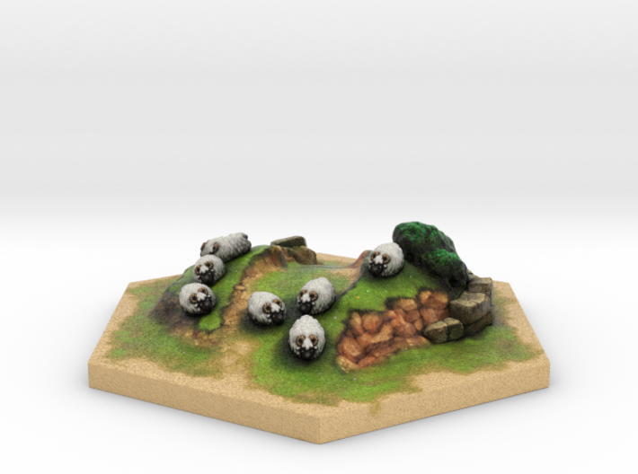 Catan_sheep_hexagon 3d printed
