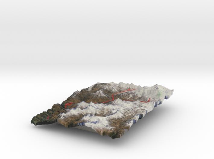 Mount Everest region, in color 3d printed
