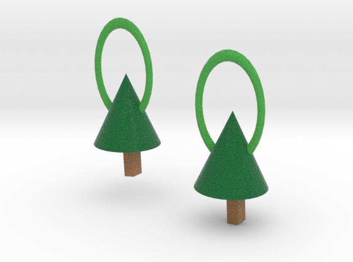 Xmas Tree Earrrings 3d printed