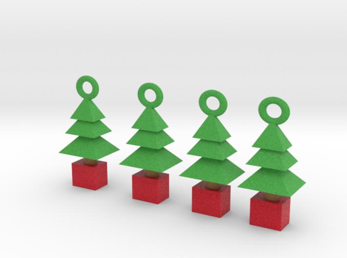 3d  Xmas Tree Tree Decoration Set Of 4 Smaller 3d printed