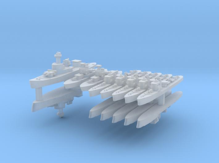 Thai Fleet 1:2400 (14 Ships) 3d printed