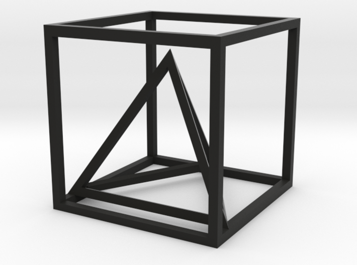 Tetrahedron in cube 3d printed