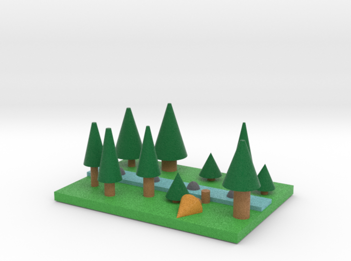 Pine Forest with river 3d printed