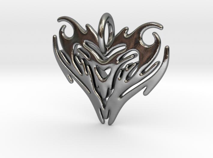Pendant Heart Tribal Pattern 3d printed
