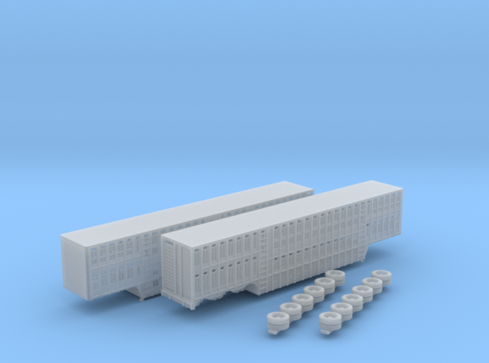 1:160 N Scale 3 Axle 53' Livestock Trailer x2 3d printed