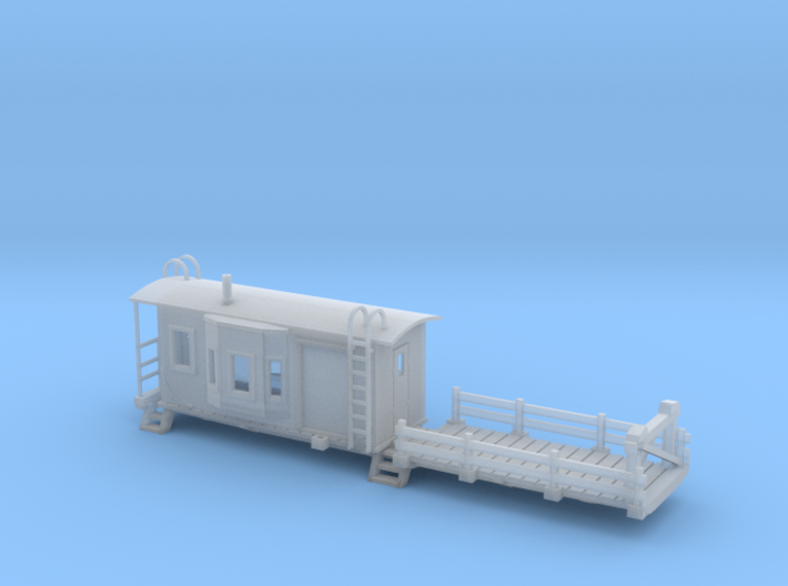 Bay Window Caboose Flat Car N Scale 3d printed