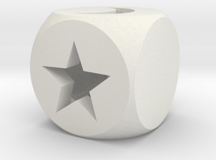 Moon & Stars Fudge Die HOLLOW Fate Dice 3d printed
