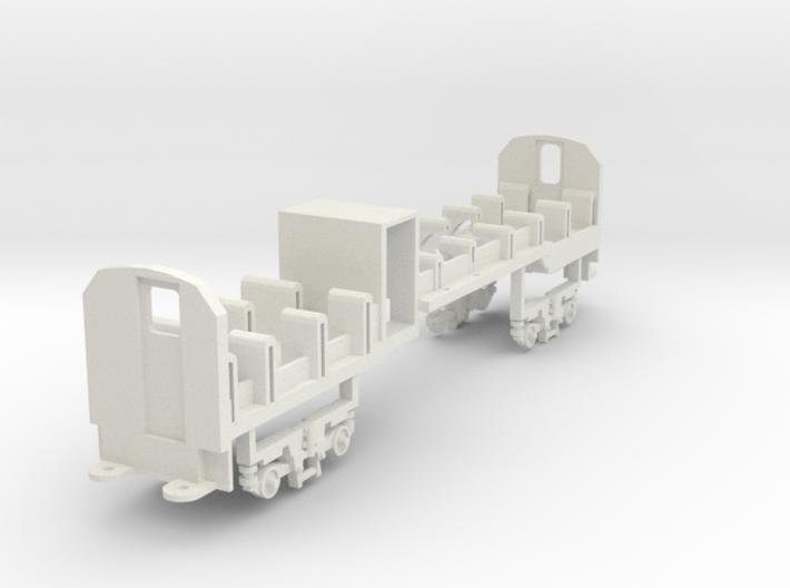 Mbxd2, 002, HOe scale, railcar seats, bogie sides 3d printed