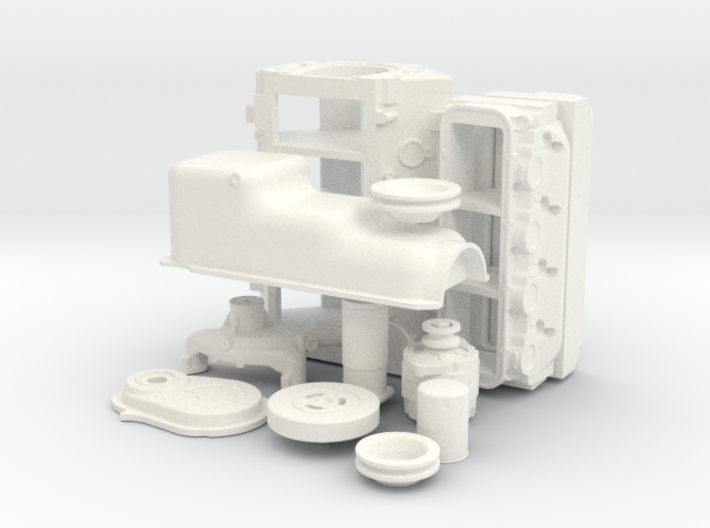 1/8 Stock BBC Block Kit (No Mech Fuel Pump) 3d printed