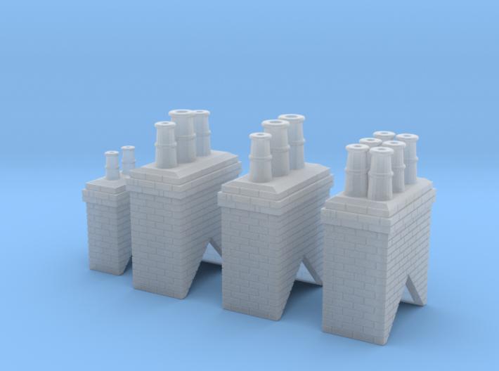 Chimney Types 1,2,3 & 4 N Scale 3d printed