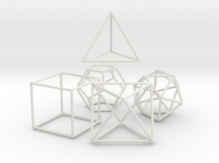 5 Platonic Solids - 35mm 3d printed