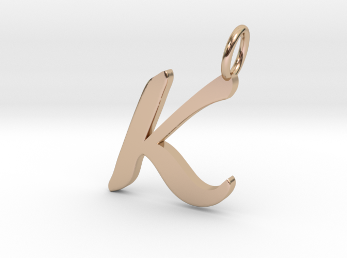 K classic script initial pendant letter 532vt3zsb by thepeoplesjeweler k classic script initial pendant letter 3d printed aloadofball Image collections