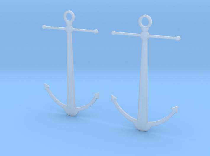 Anchor Earrings 3d printed