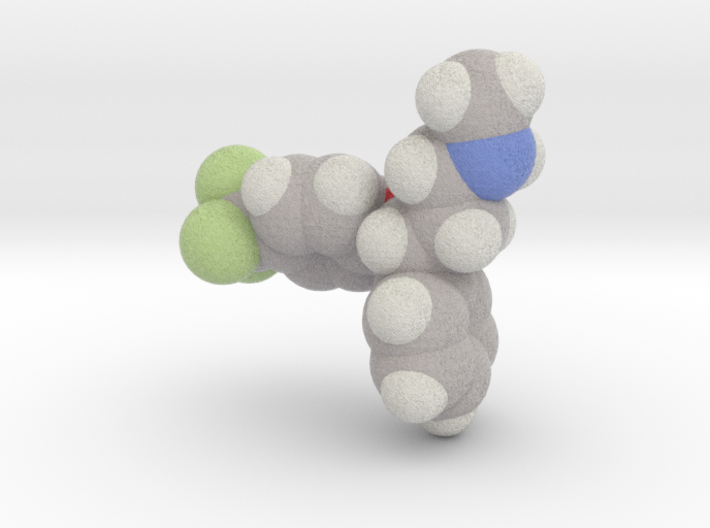 Fluoxetine molecule (x40,000,000, 1A = 4mm) 3d printed