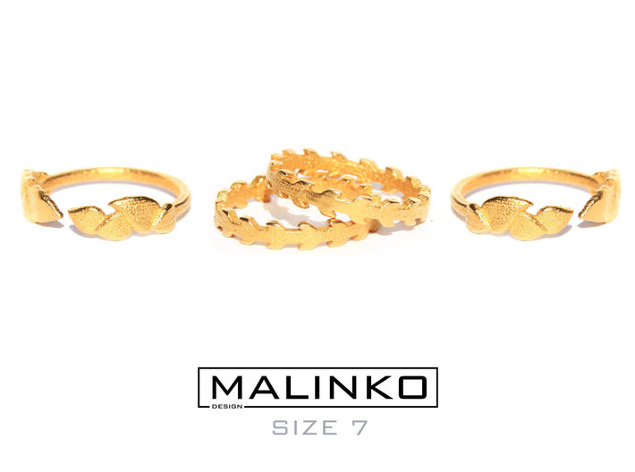 'Stackable Mix' Rings Size 7 (17.3 mm) x 4 pcs 3d printed Stackable mix in Gold plated steel