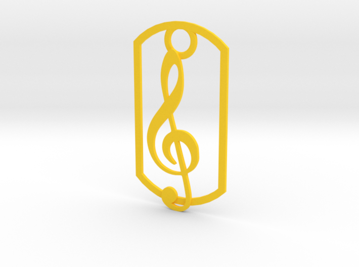 Treble clef dog tag 3d printed