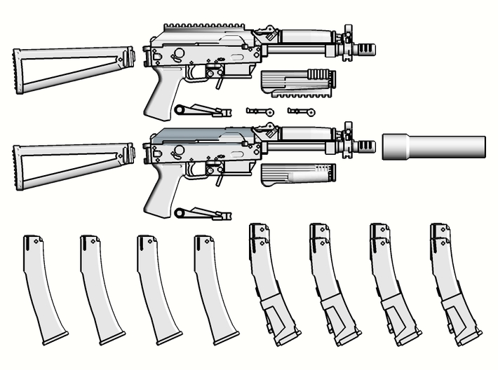 1:6 scale Russian Vityaz SMG Full Package revised  3d printed Add a caption...