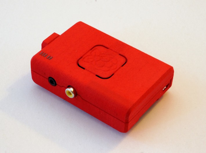 Raspberry Pi CASE 1.0 3d printed Raspberry Pi mounted onto the real case printed in Red Strong and Flexible