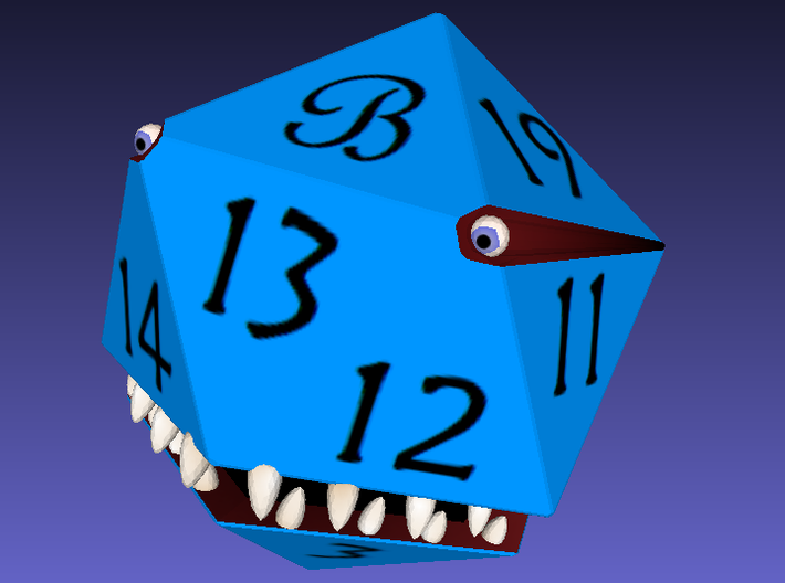Custom D20 Monster 'B' 3d printed