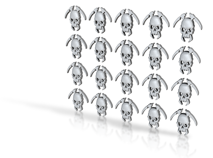 20 8mm Tall Skull Scythe Icons 3d printed